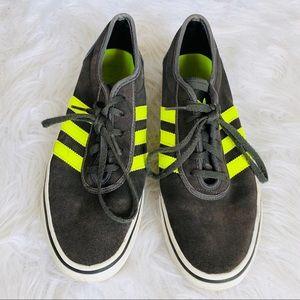 Adidas Gray Suede Neon 3 Stripe Sneakers
